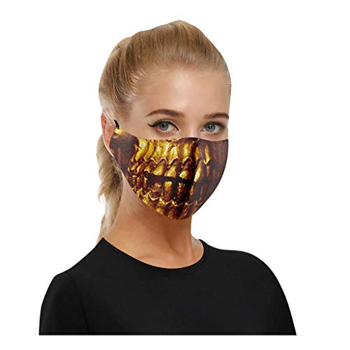KESEELY 5PC Adult Unisex Print Exhaust Sunscreen Face Breathable Cycling Protective Face Bandanas ΜĀ𝙎Κ Gold