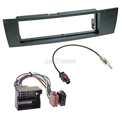 Carmedio BMW 1er E87 04-07 1-DIN Autoradio Einbauset in original Plug&Play Qualität mit Antennenadapter Radioanschlusskabel Zubehör und Radioblende Einbaurahmen schwarz