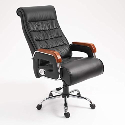 Silla de oficina ergonómica de piel sintética, silla de juegos, reposabrazos de madera, color marrón