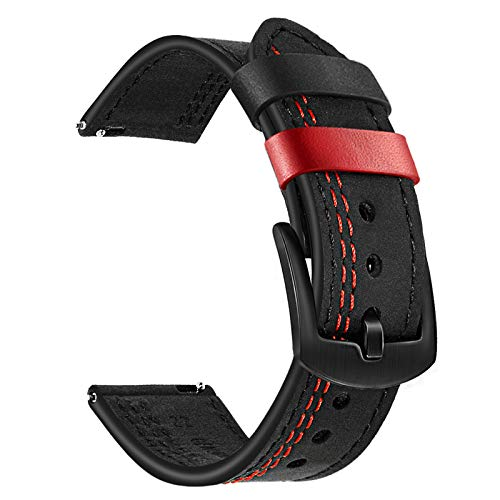 TRUMiRR Ersatz für Amazfit GTR 2e Leder Armband, 22mm Doppelfarbe Echtes Leder Uhrenarmband Business Band Sports Ersatzband für Amazfit GTR 2e/ GTR 2/Smartwatch GTR 47mm