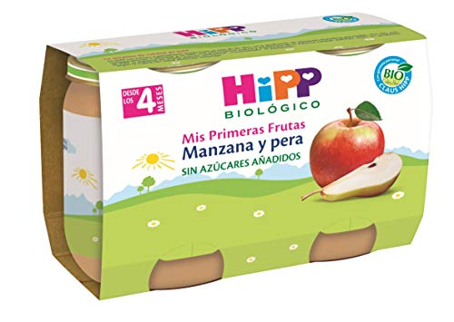 HiPP Biológico, Potito de fruta para bebé (Manzana, Pera) - 12 de 2 potitos (Total 24 tarritos)
