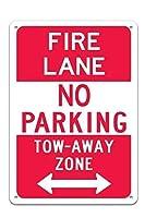 安全標識-双方向ファイアレーン駐車禁止牽引路ゾーン標識。インチメタルブリキサイン注意警告サイン屋外