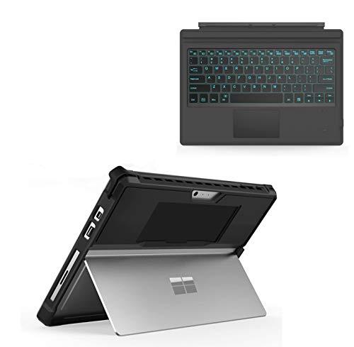 MoKo Teclado Bluetooth inalámbrico ultrafino con Trackpad y funda protectora resistente todo en uno, compatible con Microsoft Surface Pro 7/Pro 6/Pro 5/Pro