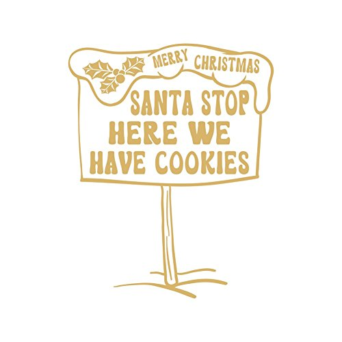 lepni.me Wandaufkleber Cookies for Santa Vinyl Decals Christmas Decoration Gifts from Santa (Gold)