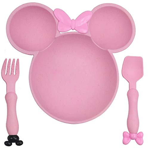 Juego de 3 piezas de cena de Minnie Mickey en forma de bebé de comida rosa para niños