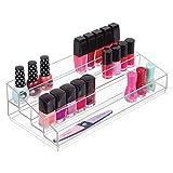 mDesign Organizador de maquillaje – Caja transparente con 4 compartimentos - Ideal para guardar...