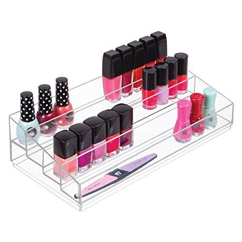 mDesign Kosmetik Organizer - Aufbewahrungsbox mit vier Fächern für Make-up, Nagellack und Beautyprodukte - die ideale Schminkaufbewahrung - transparent