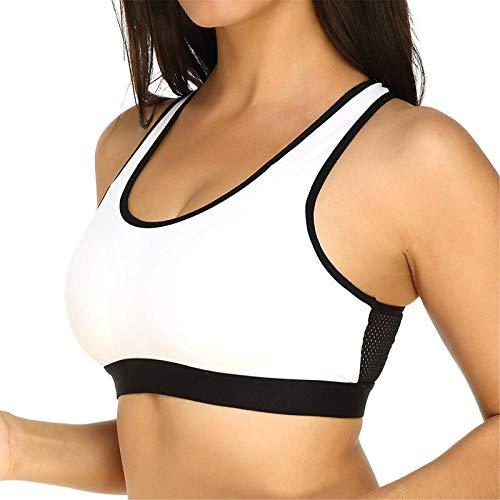TEET Sujetador deportivo de encaje a prueba de golpes, cobertura completa, acolchado para yoga, baile, correr, ejercicio, fitness (tamaño: XL; color: blanco)