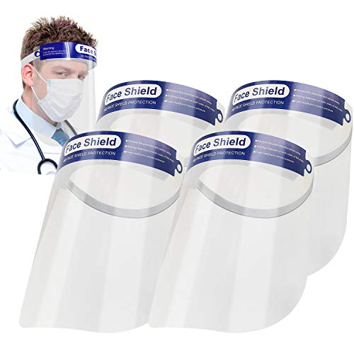 Safety Face Shields, All-Round Protection Cap with Plastic Shielding. Elastic Headband and Sponge for Comfortable Wearing. Suit for Men and Women. Anti-Fog, Anti-saliva, Indoor and outdoor. (4 Pack)