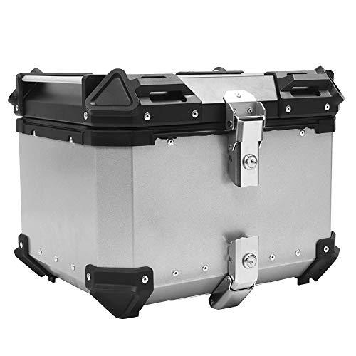 Fydun Estuche Superior de Aluminio, 45 litros Caja Trasera de Motocicleta Maletero Trasero Maletero Equipaje Cierre Superior Almacenamiento(Plata)