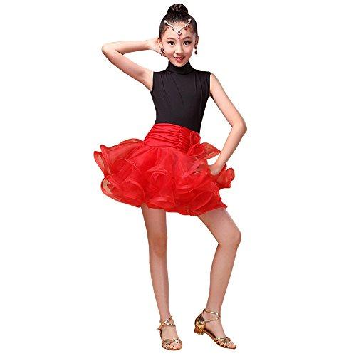 XFentech Enfant Filles Été Vêtements de Danse sans Manches Tutu Robe de Danse Latine Performance Compétition Pratique Costume, Rouge/150