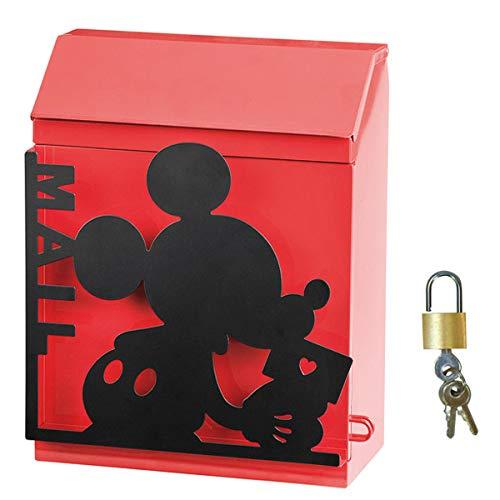 ポスト 郵便受け 置き掛け兼用ポスト ディズニー シルエットポスト ミッキー 南京錠 鍵付き デザインポスト