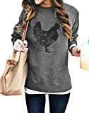 FASHGL Farm Sweatshirt Women Floral Chicken Pullover Funny Cute Graphic Tee Holiday Casual Tops Lightweight Blouse Gray