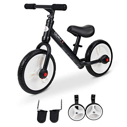 HOMCOM Vélo Enfant draisienne 2 en 1 roulettes et pédales Amovibles Roues 11' Hauteur Selle réglable Acier Noir