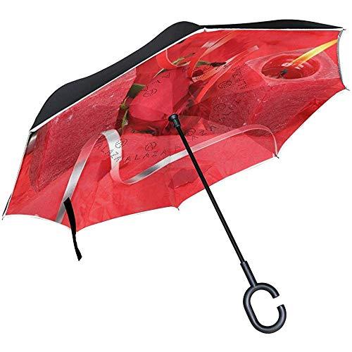 Omgekeerde paraplu mooie kaars licht beeld omgekeerde paraplu omkeerbaar voor golf auto reizen regen outdoor zwart