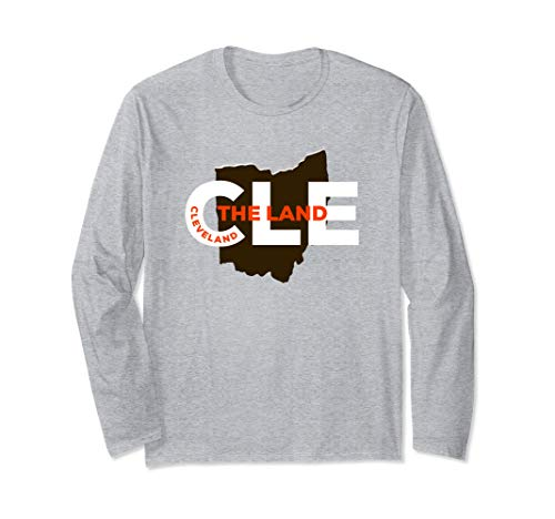 Cleveland Long Sleeve CLE The Land Shirt with Ohio Map