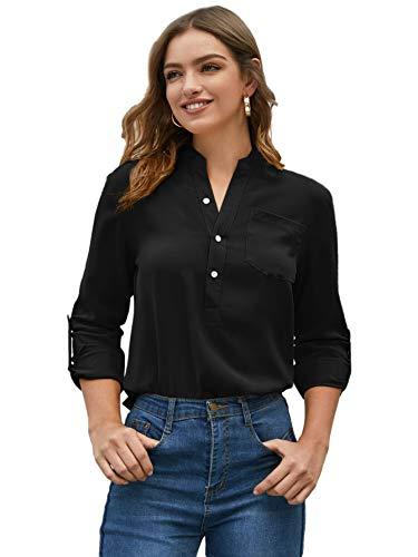 SOLY HUX Damen Bluse Elegant Langarm Tunika Leicht V-Ausschnitt Festliche Blusen mit Einstellbare Ärmeln Halbe Knopfleiste Oberteile Schwarz M