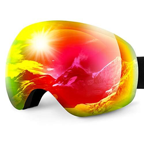 Karvipark Skibrille, Ski Snowboard Brille Brillenträger Schibrille Verspiegelt, Doppel-Objektiv OTG UV-Schutz Anti Fog Snowboardbrille Damen Herren Kinder für Skifahren Snowboard (Rot VLT13{364e5b6d830444781c94addf57418bc8cb2be2b48b37b87c4c6d9a3d080b5204})