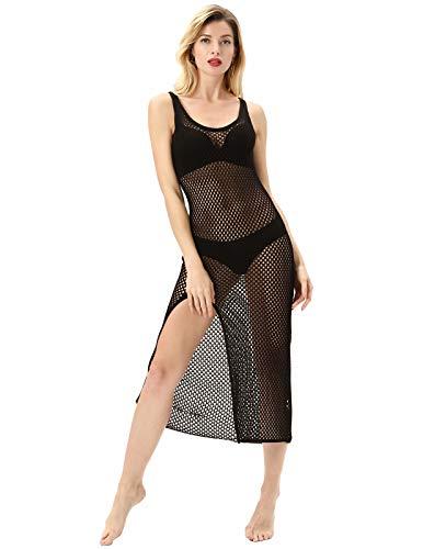 KANCY KOLE Ärmellose Damen Bademode Häkeltunika Bikini Badeanzug Vertuschung Strandkleid Schwarz 2064 L