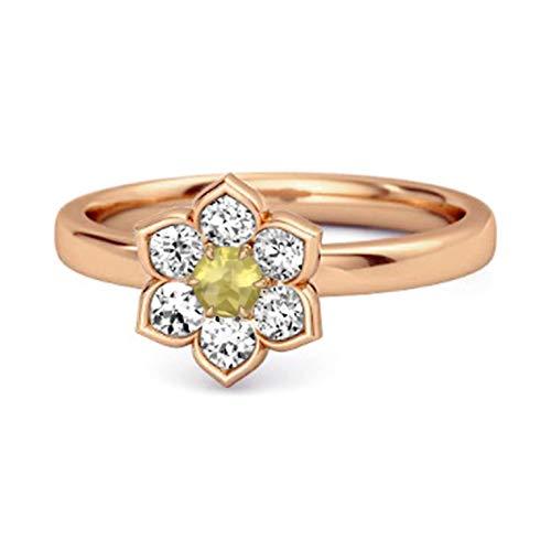 Shine Jewel Multi Elija su Piedra Preciosa Flor de Margarita 0.02 CTS Anillo Chapado en Oro Rosa de Plata de Ley 925 (12, Cuarzo limón)