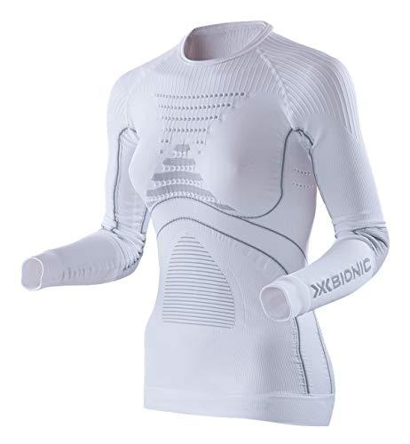 X-Bionic Energy Accumulator Origins Long Sleeve Shirt Women - Camiseta de compresión para Mujer, Color Blanco y Gris Perla (Talla del Fabricante: L/XL)
