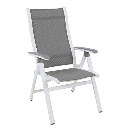 MWH Klapstoel Tuin Evo Inklapbaar aluminium/textileen wit/zilver Rugleuning verstelbare tuinstoel terrasstoel balkonstoel