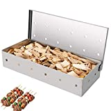 gotyou Affumicatore Box in Acciaio Inox, BBQ Scatola da Fumo, Smoker Box Barbecue, Universale Smoking Box per Barbecue in Legno Chip con Scatola per Fumatori con Coperchio a Cerniera per Grill a Gas