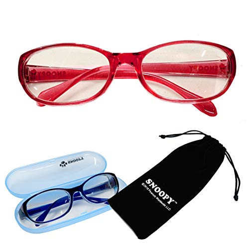 花粉 メガネ 子供用 スヌーピー 女性用 キッズ レッド PCメガネ 小さめ ゴーグル 花粉対策 眼鏡 PC眼鏡 ブルーライト カット サングラス 眼鏡ケース付き [並行輸入品]