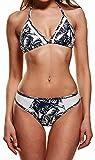 Ocean Plus Donna Bikini a Vita Alta e Triangolo Bohemian con Costume a Fascia Nappa (M/34, Albero di Cocco)