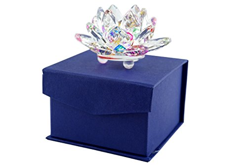 Mstechcorp Sapphire Sparkle Crystal 3 inch Decorative Clear Reflection Lotus Flower For Feng Shui Home Decor with Gift Box (Rainbow)