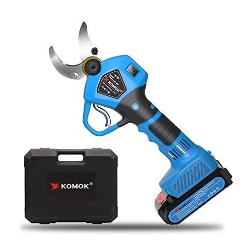 KOMOK Tijeras de Podar Eléctricas, con Pantalla LED, 2 Baterías de Litio Recargables de 30 MM (1,2 Pulgadas), 6-8 Horas de Trabajo (Azul)