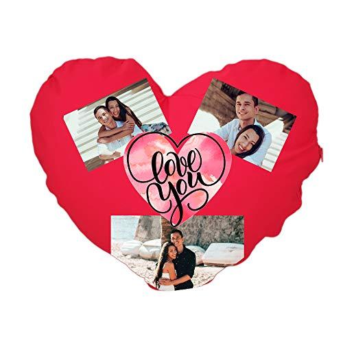 Cojín de algodón con forma de corazón – I love you – personalizado, fabricado en Italia