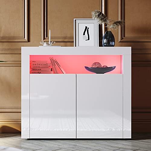 SONNI Aparador Blanco Brillo,Mueble Comedor Brillante con Iluminación LED 108x40x90cm,Armario Entrada para Salón/Cocina