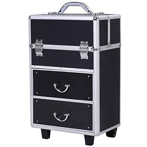 Valise trolley maquillage malette cosmétique vanity poignée télescopique réglable 36L x 23l x 58H cm alu noir