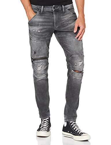G-STAR RAW 5620 3D Zip Knee Skinny_Jeans, Vintage Ripped Basalt A634-b841, 33W x 34L para Hombre