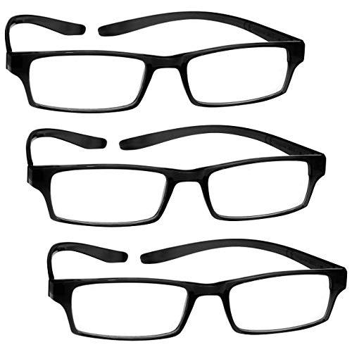 The Reading Glasses Company Die Lesebrille Unternehmen Nacken-Leser Wert 3er-Pack Herren Damen Federscharniere RRR20-1 +2, 50 , Schwarz, 3 Stück