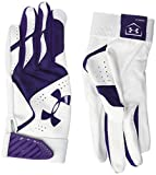 Under Armour Women's Radar Softball Batting Gloves, White (106)/Purple, Small