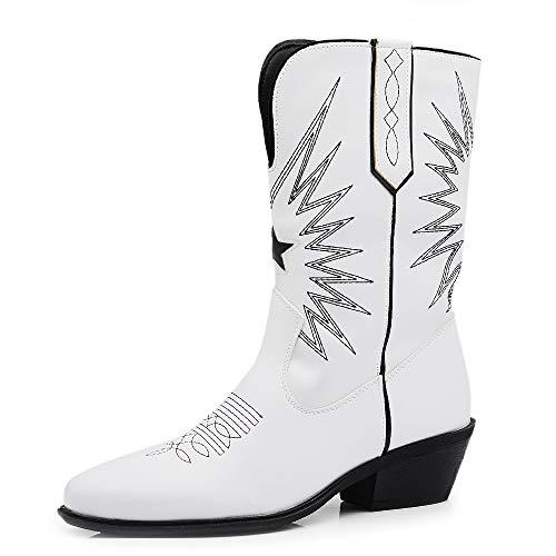 Texani - Zapatos de mujer Cowboy Western - Botas de punta de camperos étnicos DT-16 Blanco Size: 38 EU