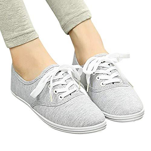 Damen Sneaker mit Leopardenmuster  Platform Canvas Schnürschuh in Schlichter Optik Low Top Bequeme Halbschuhe Leicht Atmungsaktive Freizeit Schuhe Celucke (Grau  39 EU)