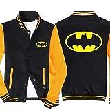 RLJqwad Veste Bomber Homme Sweat Mode Veste zippée complète Revers Haut Batman imprimé Veste de Baseball Coupe-Vent-Cadeau pour Homme A-4XL
