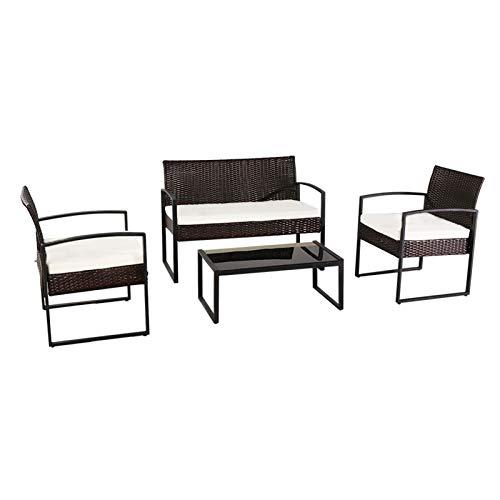 JINDAO-URG Outdoor Leisure Rattan Furniture Wicker Chair 4-Piece Metal Armrest-Brown URG