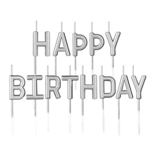 Velas de Cumpleaños Happy Birthday Letras,Velas Pastel Feliz Cumpleaños Champagne Velas de Paste para Boda Fiesta Aniversario Decoraciones Suministros Plata