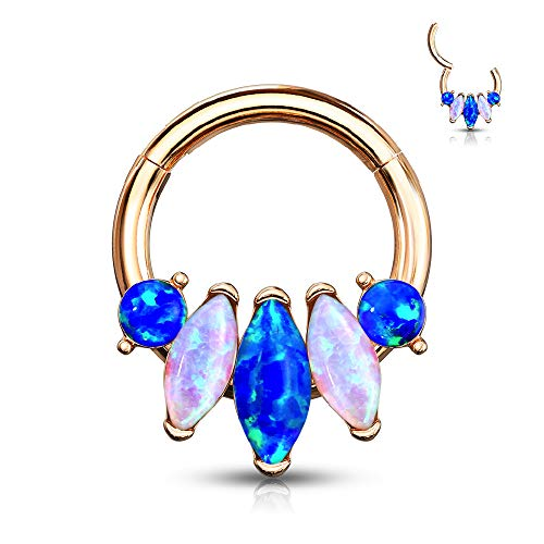 16GA Synthetic Opal Marquise Stainless Steel Hinged Segment Ring for Septum, Cartilage, and Daith Piercings