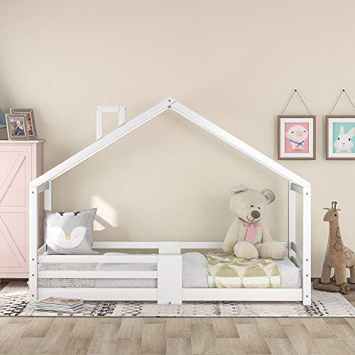 Cama infantil de diseño, 90 x 200 cm, cama con chimenea, protección contra caídas y somier, cama de invitados, cama para niños y jóvenes, sin colchón (color blanco)