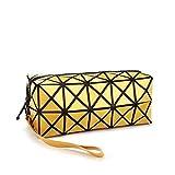 1bolso plegable para mujer, con diseños de rombos, de piel sintética, en forma de cubo, para maquillaje o como bolso de mano amarillo Amarillo