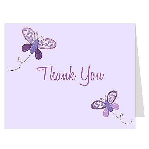Butterfly Thank You Cards Baby Shower Sprinkle Kids Girls Birthday Botanical Folding Notes Purple Lavender Fluttering Butterfly Kisses Purple Printed Cards (50 Count)
