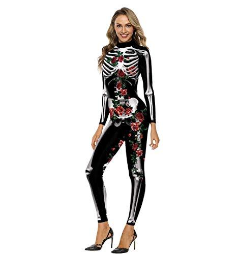 WSJ Costumi di Halloween per Donna, Costume da Donna Aderente con Scheletro a Colori 3D Stampa Digitale - Costume Sexy Tuta Femminile per sfilata ed esibizione,M