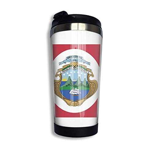 Qurbet Coffee Cups with Lids, Coffee Mugs Costa Rica Flag Travel Coffee Thermal Mug 10 Oz Insulated Cup Perfect for Travel, Camping, Hiking, The Beach and Sports
