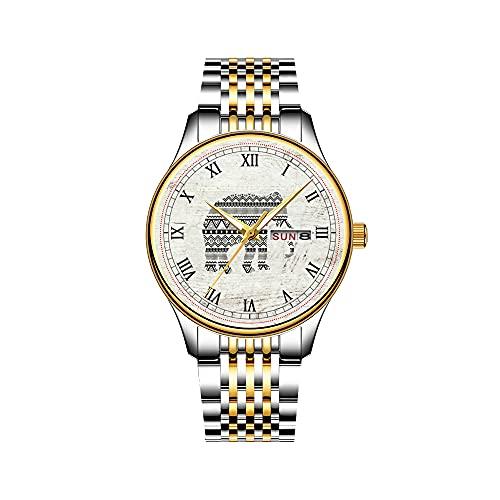 Reloj de pulsera para hombre japonés con mecanismo de cuarzo, fecha, correa de acero inoxidable, color dorado, estilo azteca y ancla náutica, color blanco y negro