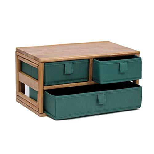 Zyj stores-Coffret Maquillage Bois Massif Bureau Cosmétiques Tiroir Boîte De Rangement De Bijoux Boîte De Finition De Débris Créatif Cabinet Rack (Color : Green, Taille : 35 * 22 * 18cm)